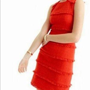 J. Crew Poppy Red cotton tweed fringe dress